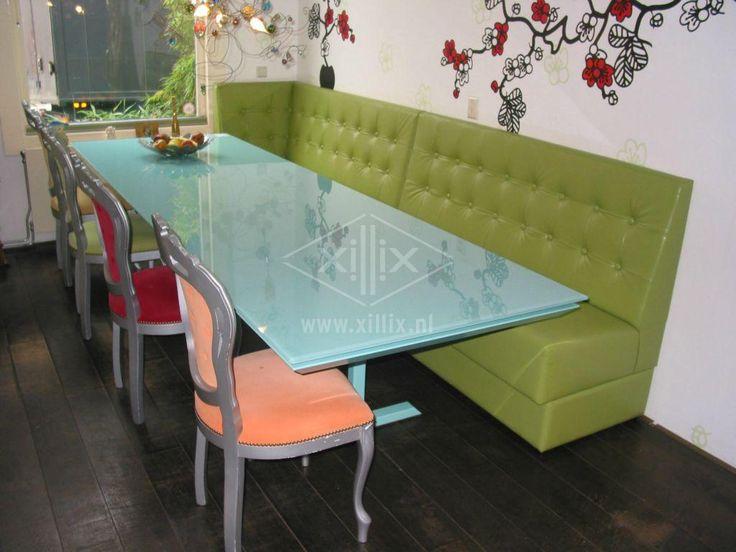 Glazen Blad : lange smalle eetkamertafel van xillix.nl met glazen blad ...
