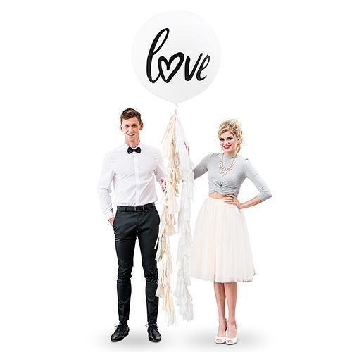 """36"""" Jumbo White Round Wedding Balloon - """"Love"""" (Pack of 1)"""