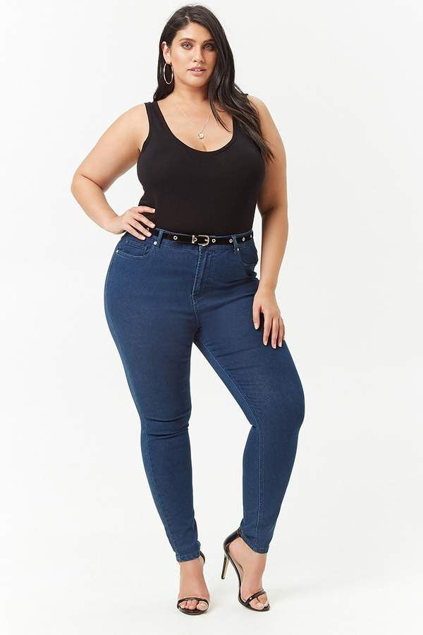 a9a358500b Forever 21 Plus Size Skinny High-Rise Jeans