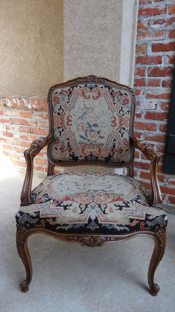 Antique french louis xv throne chair tapestry carved for Decorative armchair
