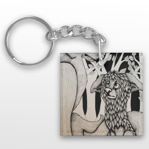 """""""Wet Dog"""" Black and White Illustrated Puppy Keychain"""