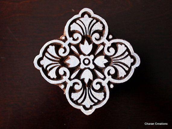 Hand Carved Indian Wood Textile Stamp Block- Square Art Nouveau Floral Motif