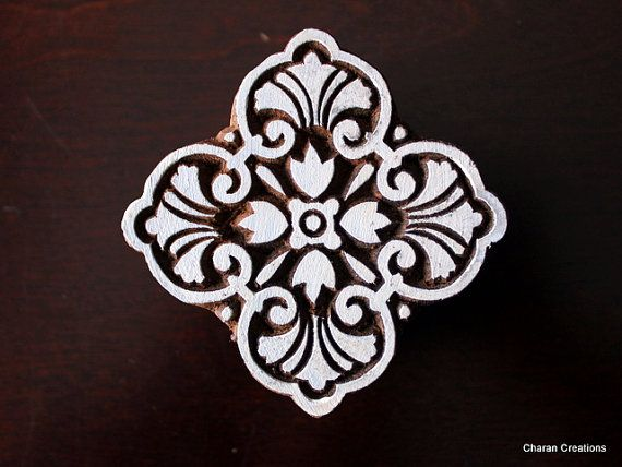 Hand Carved Indian Wood Textile Stamp Block- Square Art Nouveau Floral Motif