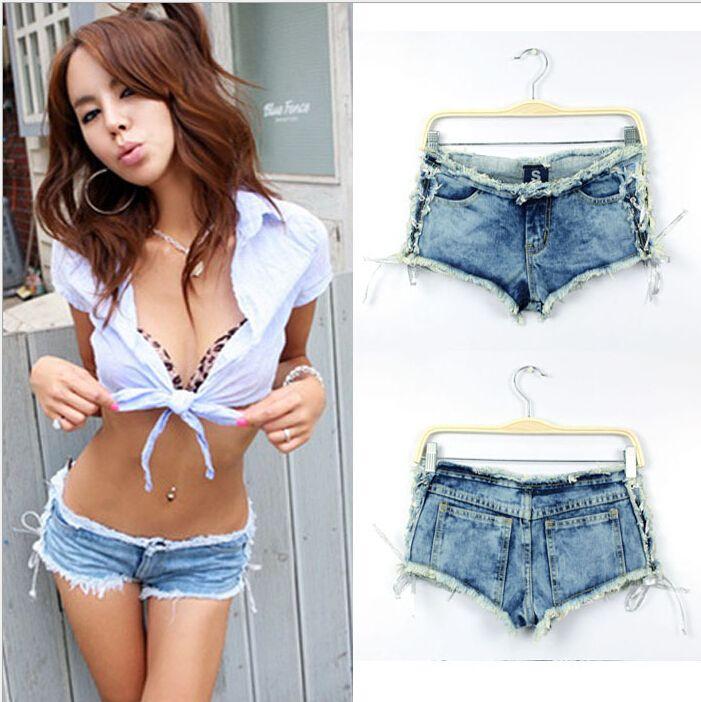 Свободного покроя Euramerican сторона сексуальный связывают носить джинсы узкие Feminino низкая талия разрез деним рваные короткая для женщины девочки