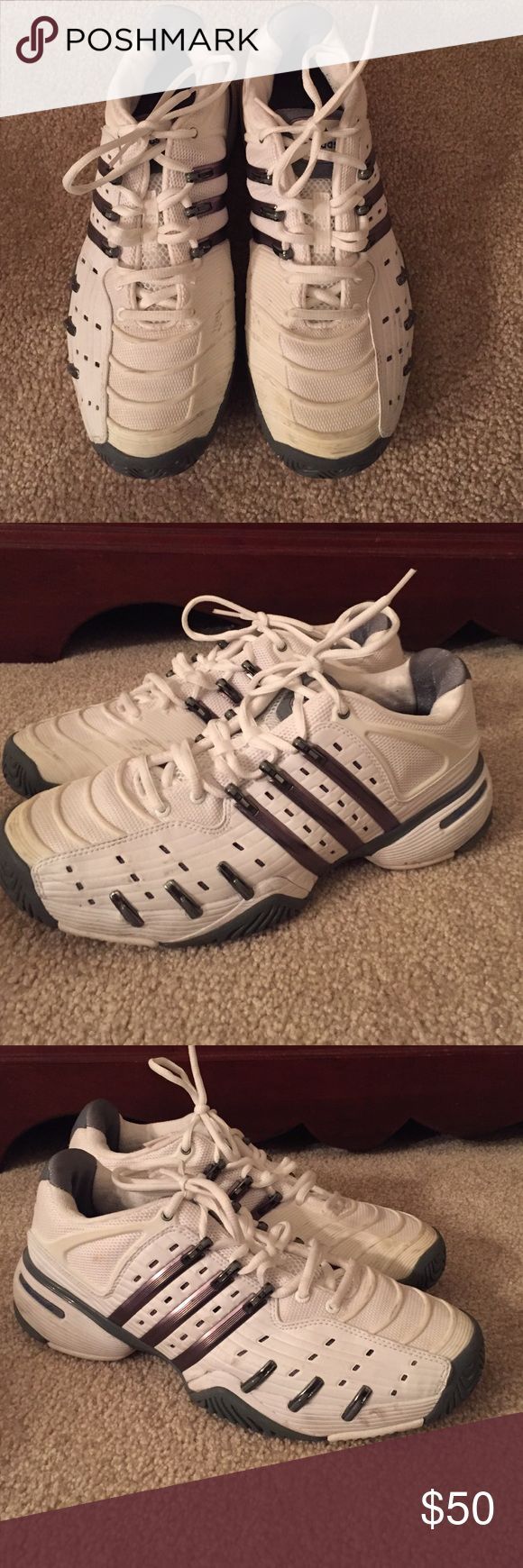 adidas Barricade 5 Tennis Sneakers lightly worn tennis sneakers - great for all types of courts - super comfortable - classic white and grey Adidas Shoes Athletic Shoes