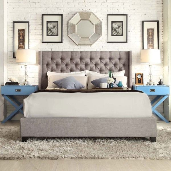 Signal Hills Naples Grey Linen Wingback Button Tufted