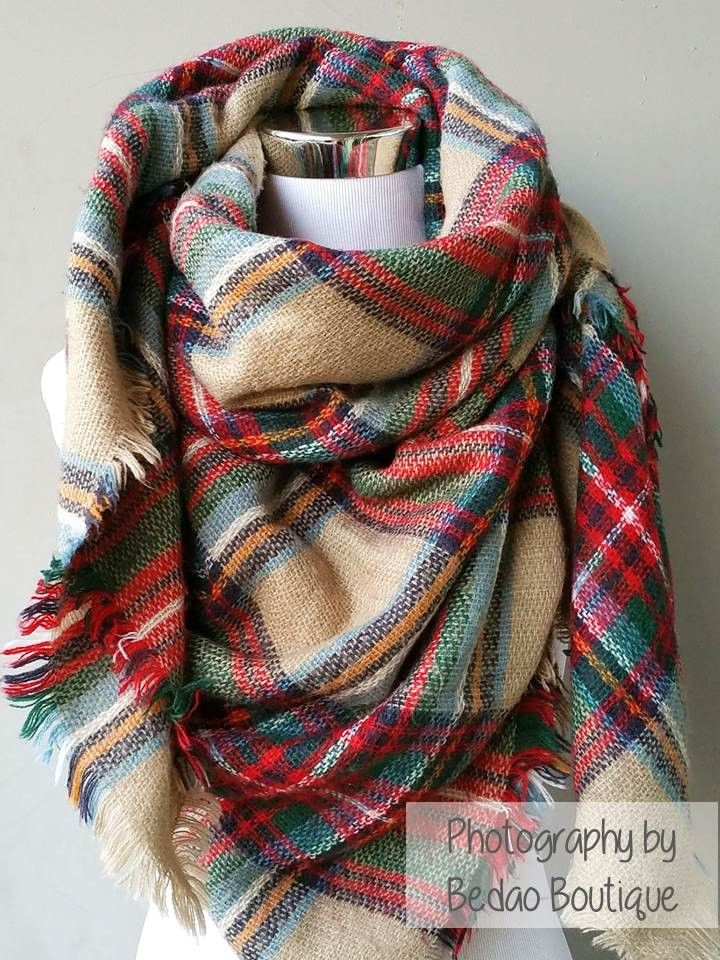 Blanket Scarf Plaid (Tan, Green, Red)