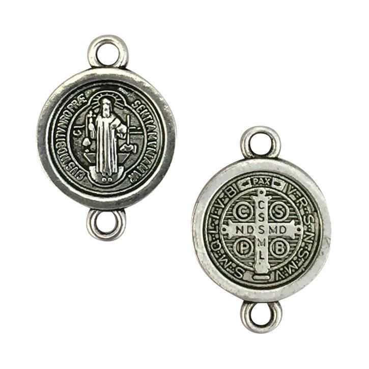 10 Silver St Benedict Medal Charm Bracelet Connector 21x14mm by TIJC SP1543 by TIJC on Etsy https://www.etsy.com/listing/503241670/10-silver-st-benedict-medal-charm