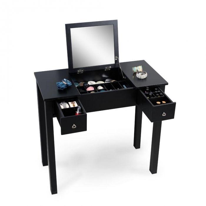 2019 Black Vanity Table Dressing Table With Dressing Mirror Makeups Storage Organizer Soild