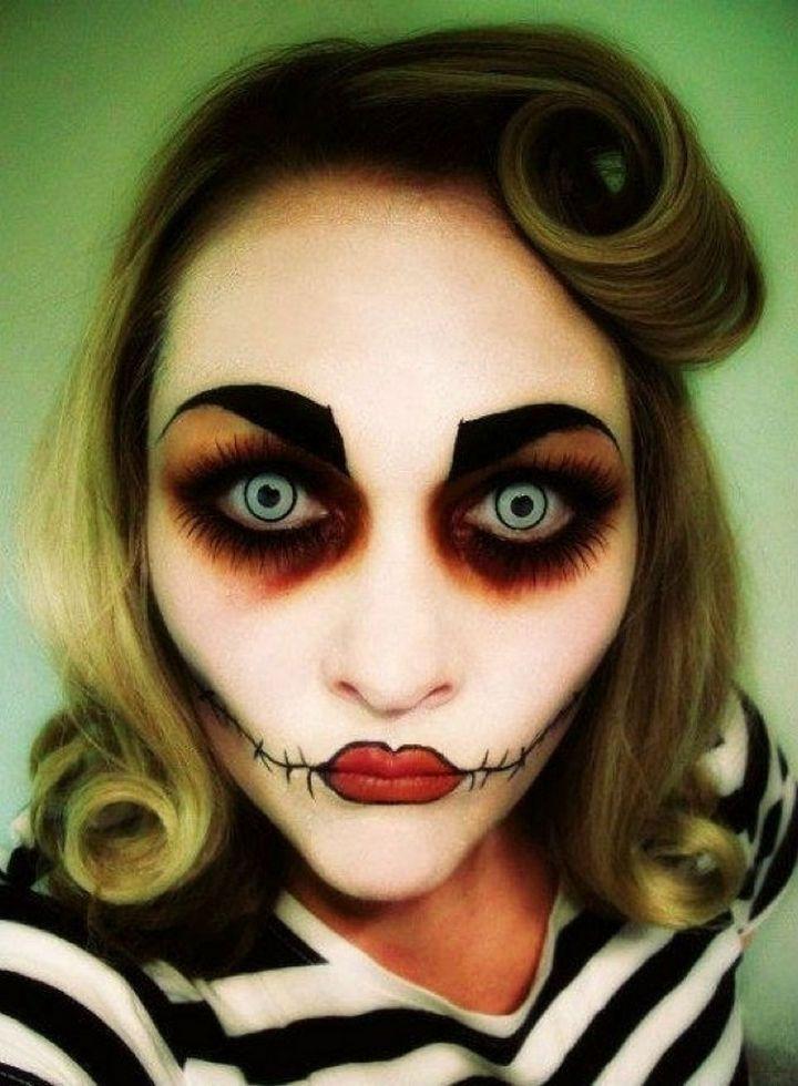 37 scary face halloween makeup ideas rockabilly zombie - Scary Halloween Ideas