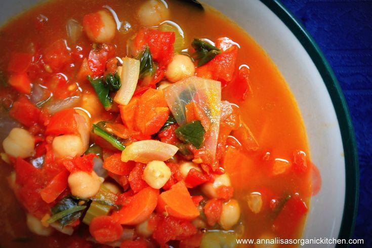 vegan tomato chick pea spinach soup