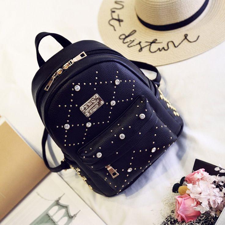 YBYT brand 2016 new leisure diamonds rivet rucksack high quality women shopping package ladies preppy style backpack bear bags