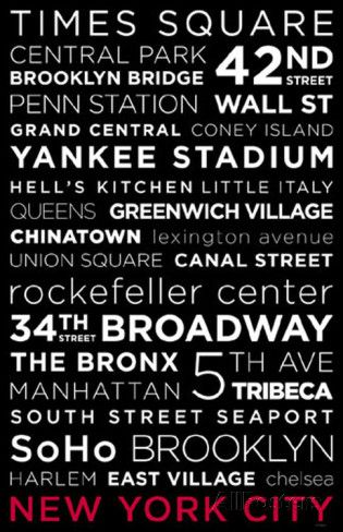 New York City Red White and Black Masterprint at AllPosters.com