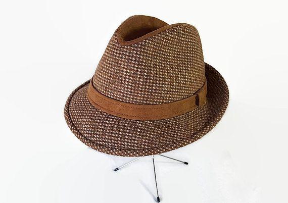 60s 70s Dobbs Hat Fedora Trilby Tweed Suede by PetticoatsPlus