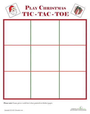 Worksheets: Santa Games: Tic-Tac-Toe