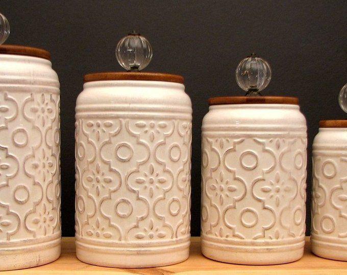Large Set Of 4 Canister Set For Kitchen Flour Jar Sugar Jar Etsy Canister Sets Vintage Canisters Farmhouse Kitchen Canisters