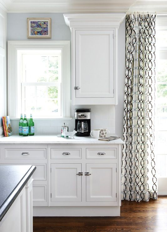 Muse Interiors   Sunny White Kitchen Design With Blue Walls Paint Color, White  Kitchen .