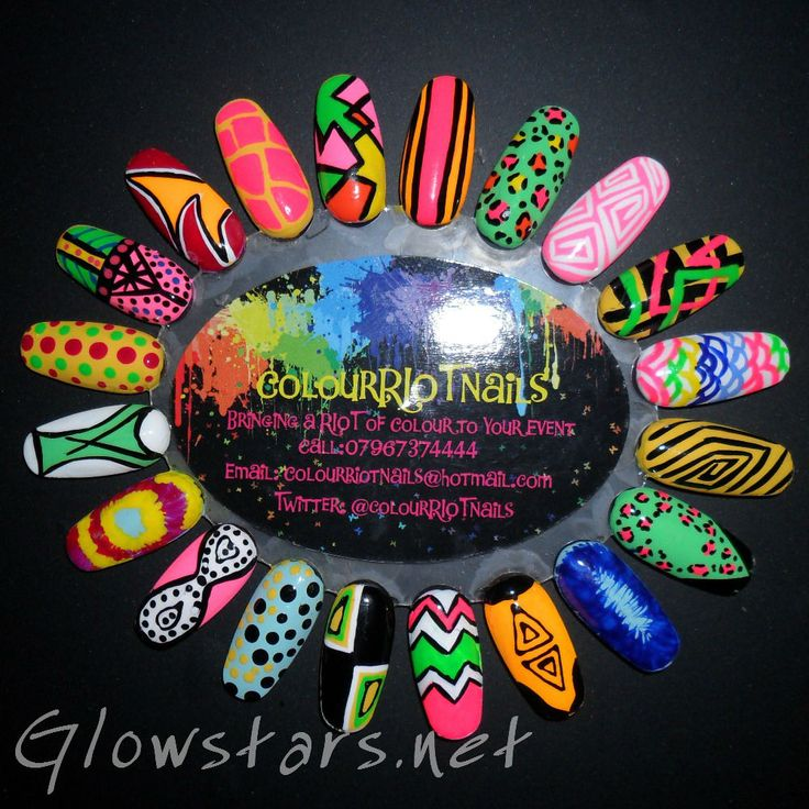 Colour Riot Nails - neon nail art design
