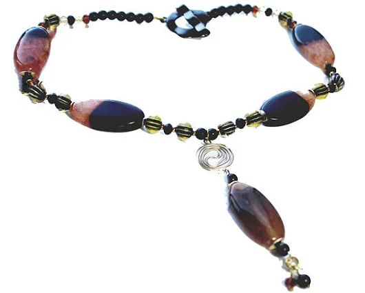 Brown Beaded Necklace Bead Jewelry Gift Oval Agate Bead
