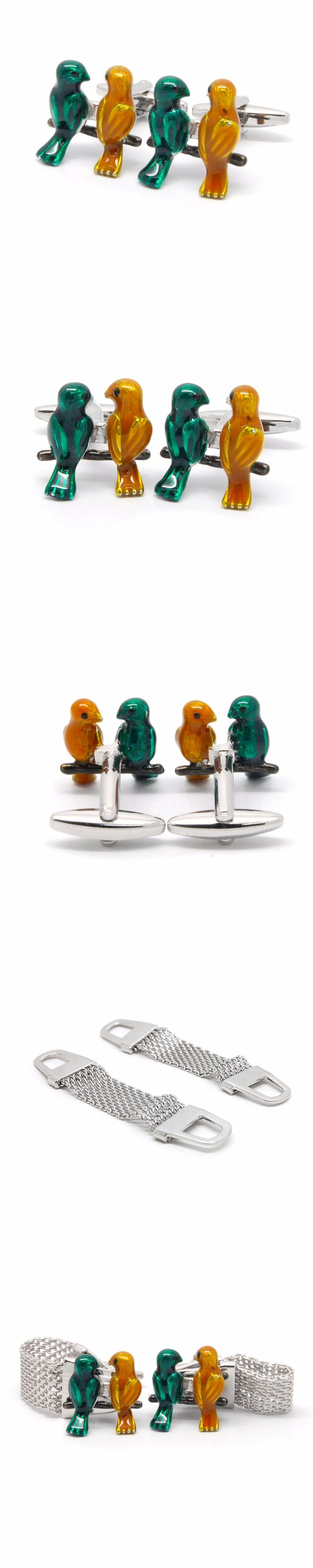 Animal Parrot Cufflinks For Mens Fashion Novel Copper Cufflink High Quality French Shirt Cuff Links Wedding Groom Gift