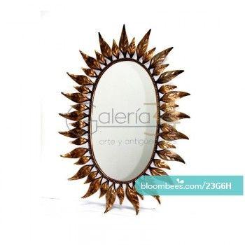 espejo sol de cobre con hojas by galera