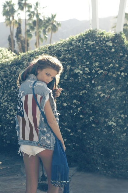 Love this picture and style! American Flag, denim vest - stars and stripes