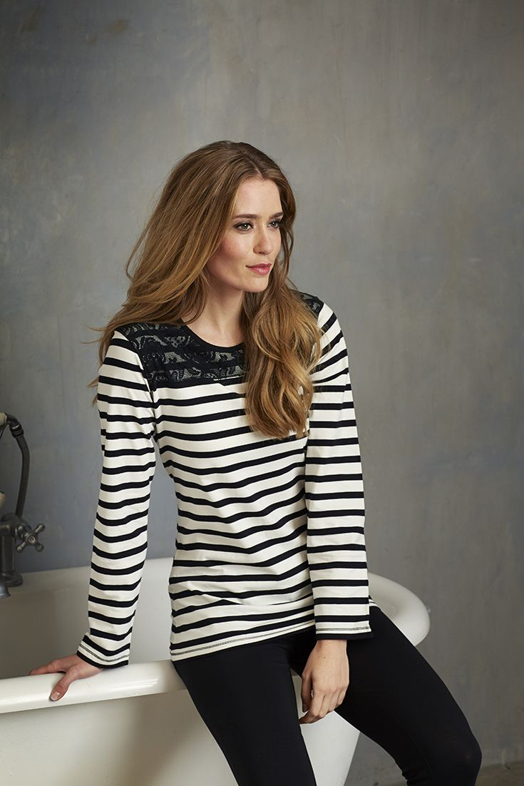 'Bold & Beautiful' modern stylish stripes black & white ladies pyjama with a touch of lace