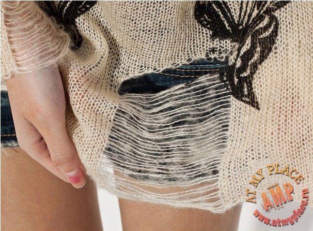 """Фото Кремовый свитер с дырками """"Бабочки"""""""