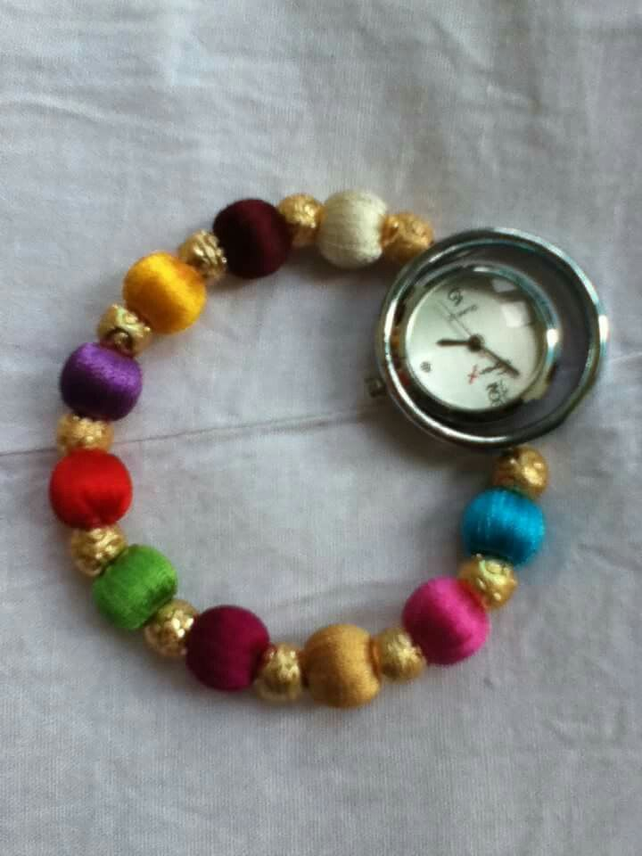 multi colored beads watch