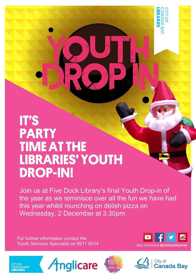 Join us at Five Dock Library for the final Youth Drop-in of  the year as we reminisce over all the fun we have had  this year whilst munching on delish pizza, on Wednesday,  8 December at 3.30pm.