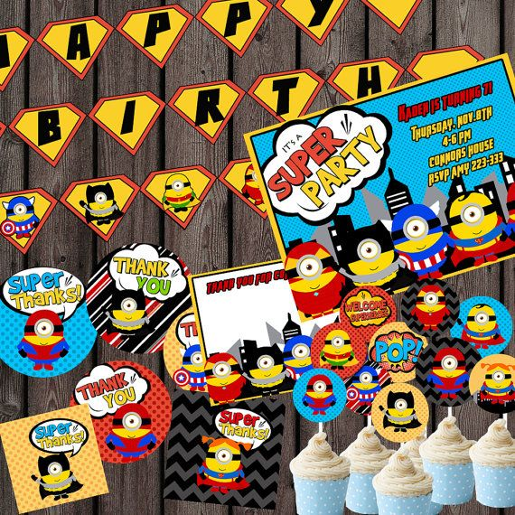 INCLUDES  invitation with custom wording, Minion superhero ultimate party package INSTANT DOWNLOAD