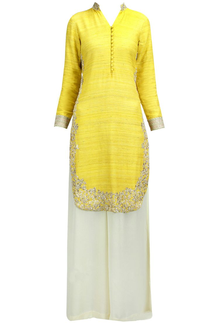 Lime green embroidered high low kurta set available only at Pernia's Pop-Up Shop.