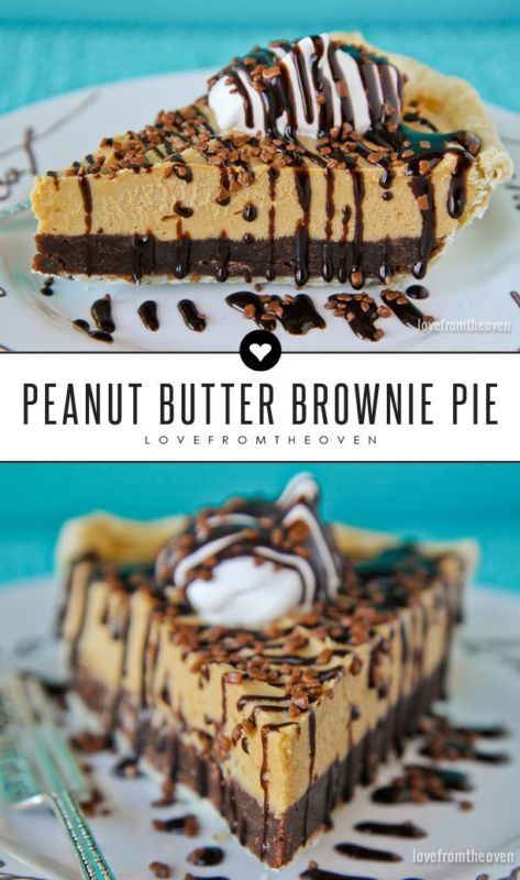 A brownie bottom pie topped with the most amazing peanut butter mousse. If you haven't had peanut butter mousse, do yourself a favor and make this pie recipe!