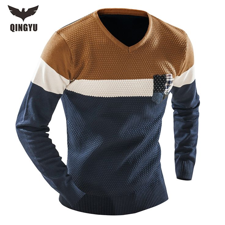 Hot Sell 2017 New Arrival Sweaters Stylish Spell color Knitted Long Sleeve Sweater Men V-neck Sweater Male Sweaters Pullover XXL