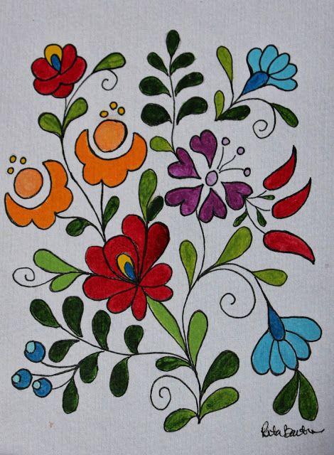 Rita Barton: Pintadas húngaras Arte popular Flores                                                                                                                                                      Más