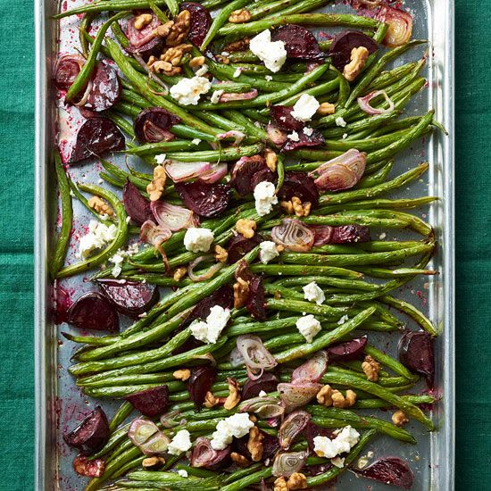 Roasted green beans topped with feta cheese, beets, and walnuts (great thanksgiving