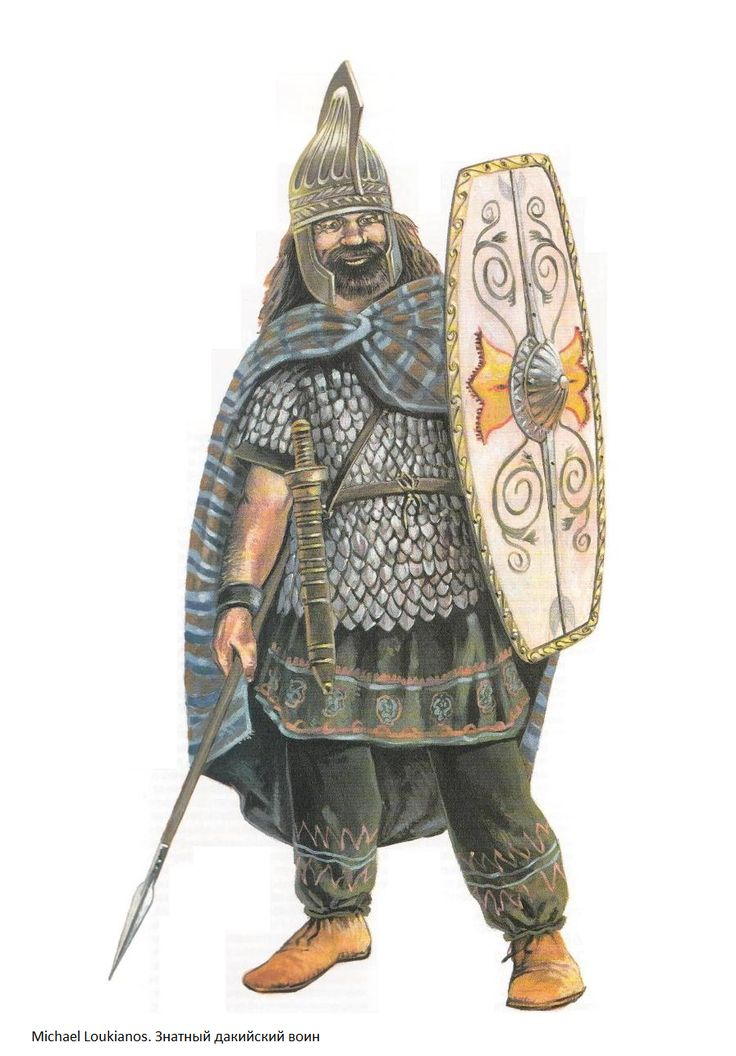 A 2nd century Dacian chieftain would wear a bronze Phrygian type helmet, a corselet of iron scale armor, an oval wooden shield with motifs and wield a sword. https://en.wikipedia.org/wiki/Dacian_warfare
