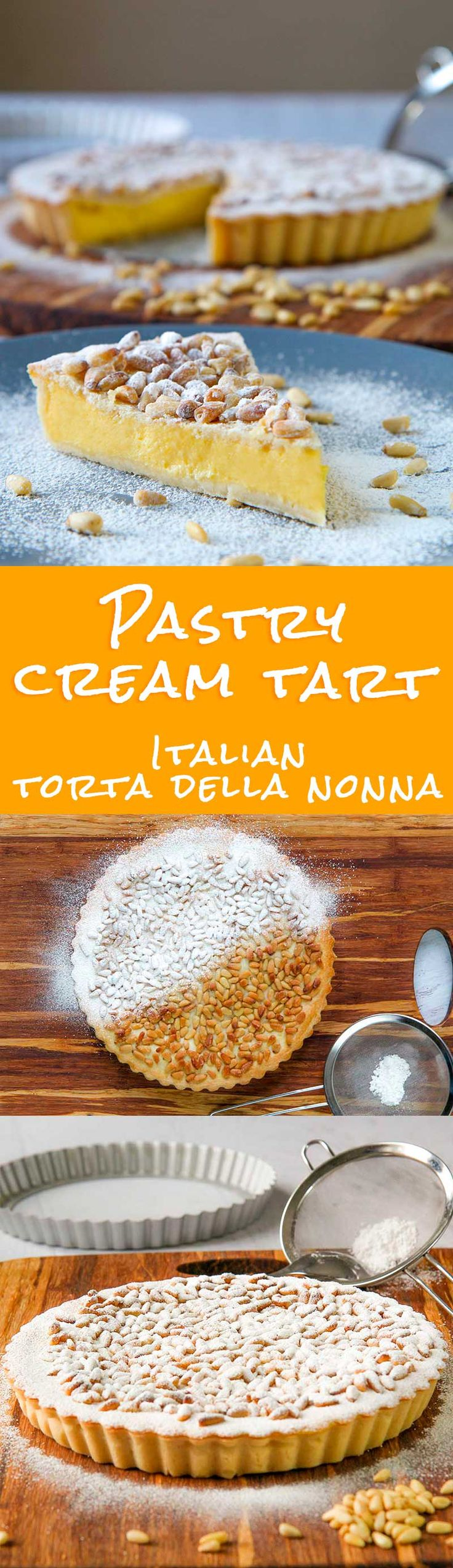 "ITALIAN PASTRY CREAM TART (Torta della Nonna) - Pastry cream tart (called in Italy ""torta della nonna"" = grandmother's cake ) is a classic Italian dessert. A crispy and flavorful pastry dough shell hide a creamy egg and milk custard. A rain of pine nuts and powdered sugar complete this traditional dessert, a sweet remembrance for any Italian kid! - desserts recipe vegetarian custard party feast"