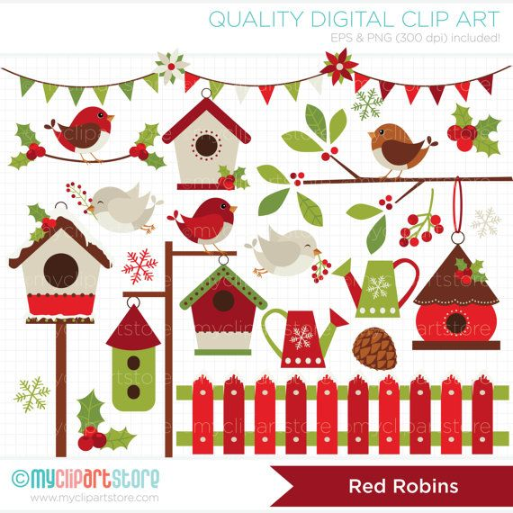 Red Robin / Cardinal Christmas / Red Birds / by MyClipArtStore
