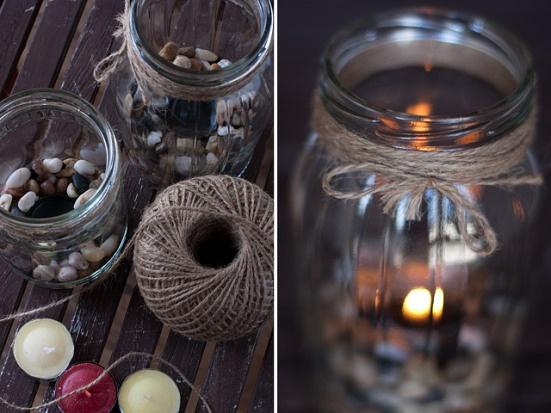 DIY tea candles on rocks in mason jars