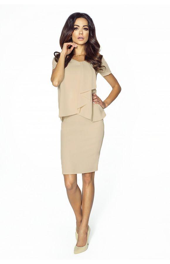 3f1cfe2a19 Elegancka sukienka z żabotem km216-4 - ❤ Kartes-Moda ❤