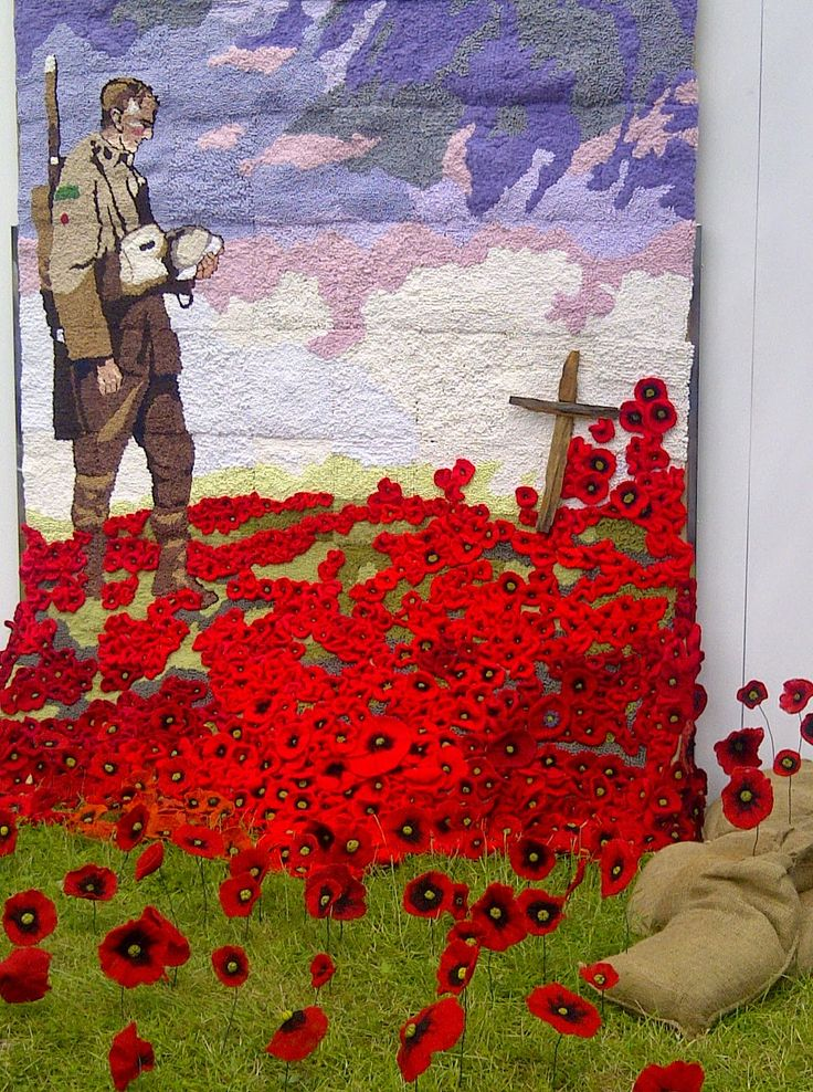 Tinchapel Textiles: Rememberence Sunday...... sewn, embroidered and crochet wall art of soldier and poppies... amazing