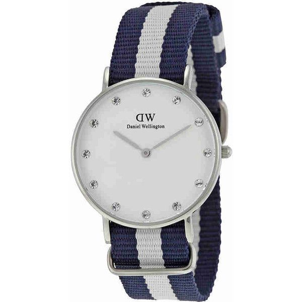 Daniel Wellington Classic Glasgow White Dial Ladies Watch (€69) ❤ liked on Polyvore featuring jewelry, watches, dial watches, analog wrist watch, analog watches, crown jewelry and stainless steel wrist watch