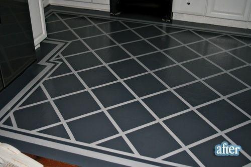 Painted laminate floors - exactly what Amanda's look like! :)