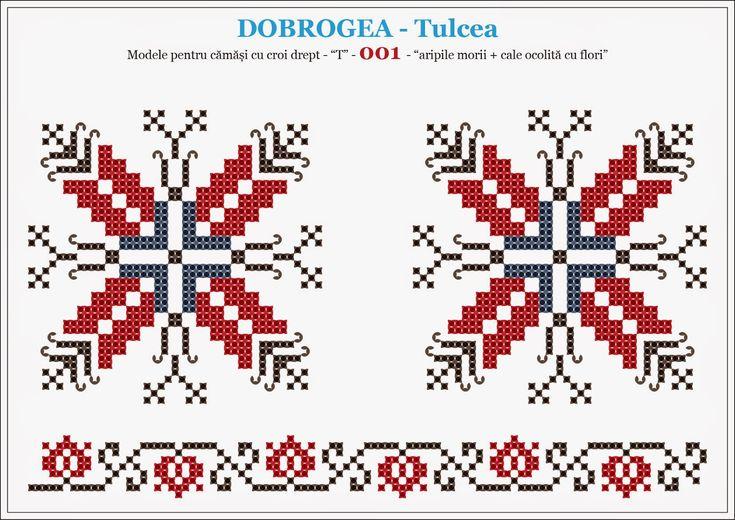 Camasa romaneasca, motive traditionale - DOBROGEA - Tulcea