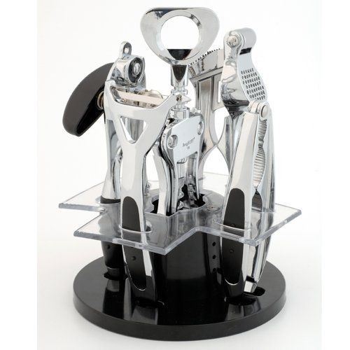 BergHOFF Orion 6-Piece Kitchen and Bar Set by BergHOFF. $55.56. Easy to clean and hygienic. Space saver and having all the utensil on the stand makes them easy to find. Utensils have a polished surface and the holder is made of synthetic fiber. Set includes: 6-3/4-inch corkscrew, 7-1/2-inch tin opener, 7-1/2-inch garlic press, 6-3/4-inch nutcracker, 6-3/4-inch peeler and stylish stand. Set includes: 6-3/4-inch corkscrew, 7-1/2-inch tin opener, 7-1/2-inch garlic press, 6-3/4...