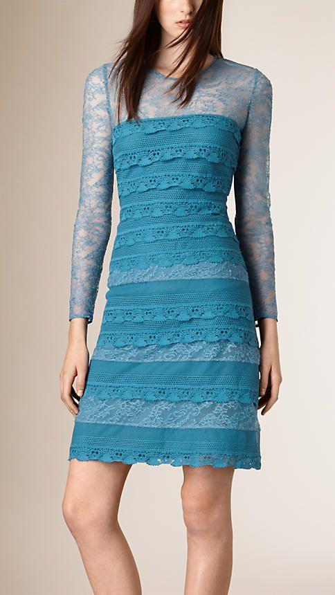 Centáurea azul claro Vestido tubinho de renda francesa em camadas - Imagem 1