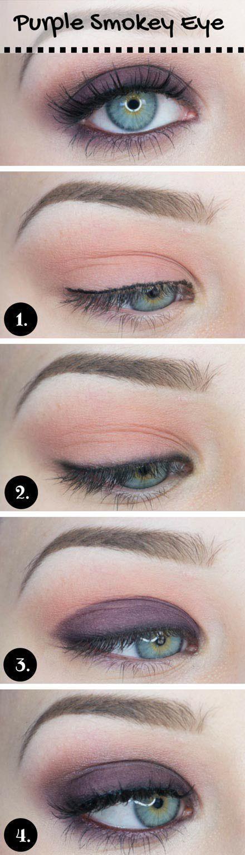 Purple Smokey Makeup for Blue Eyes #blueeyemakeup #eyemakeup