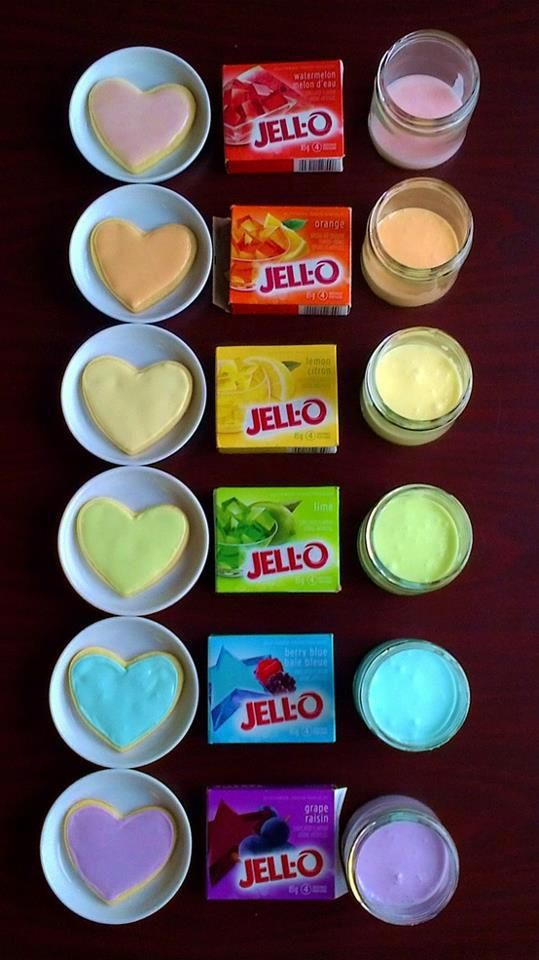 DIY, by just stirring some jello into your frosting. It will change the color and flavor...(from recipes with love)
