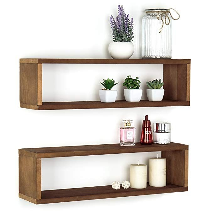 Mygift Natural Wood Finish Wood Wall Mounted 24 Inch Floating Shelf Rectangular Display Shadow Bo Floating Shelves Wall Mounted Shelves Reclaimed Wood Shelves
